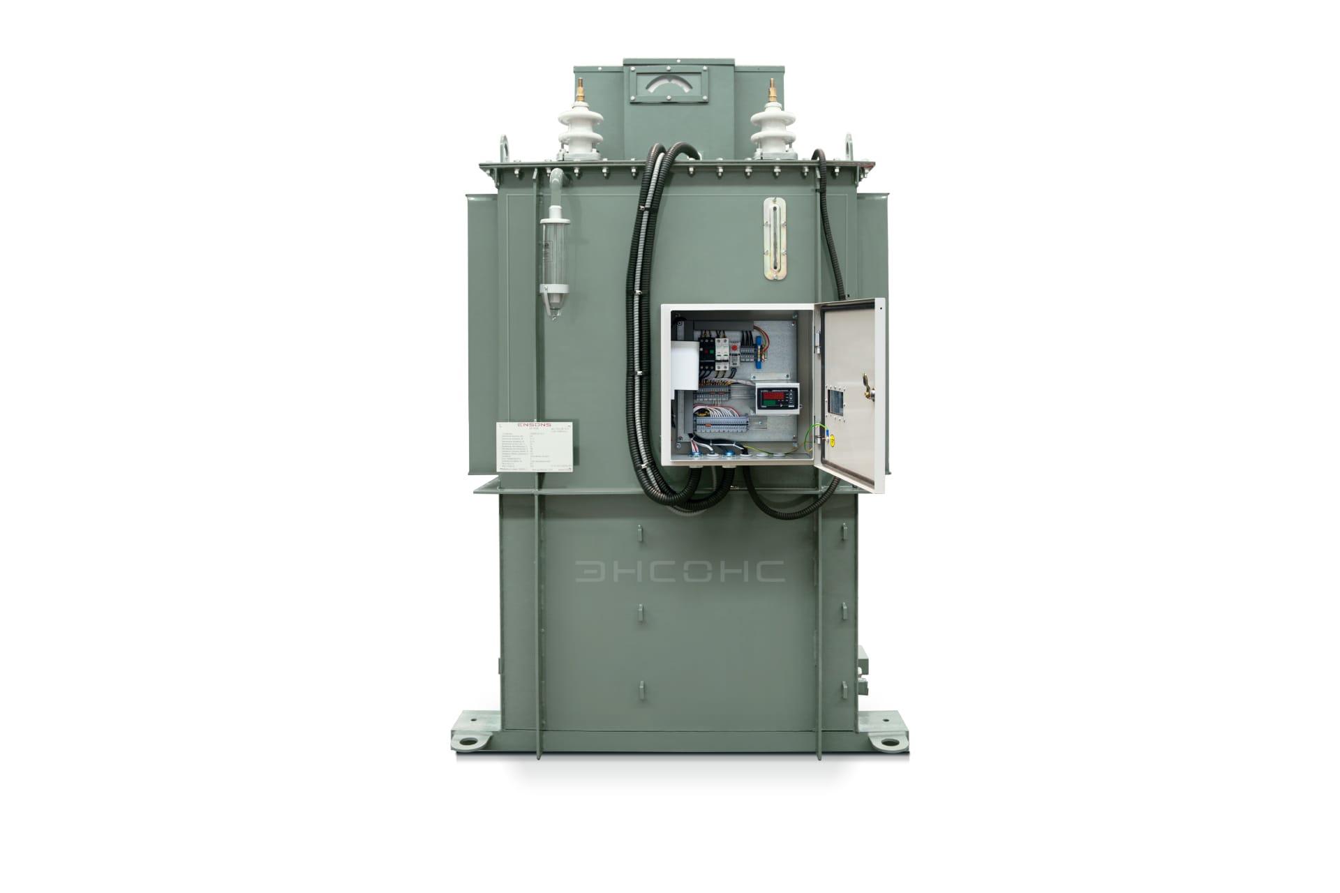 Ensons - Общий вид дугогасящего реактора РЗДПОМ 635 кВА с открытым клеммным шкафом