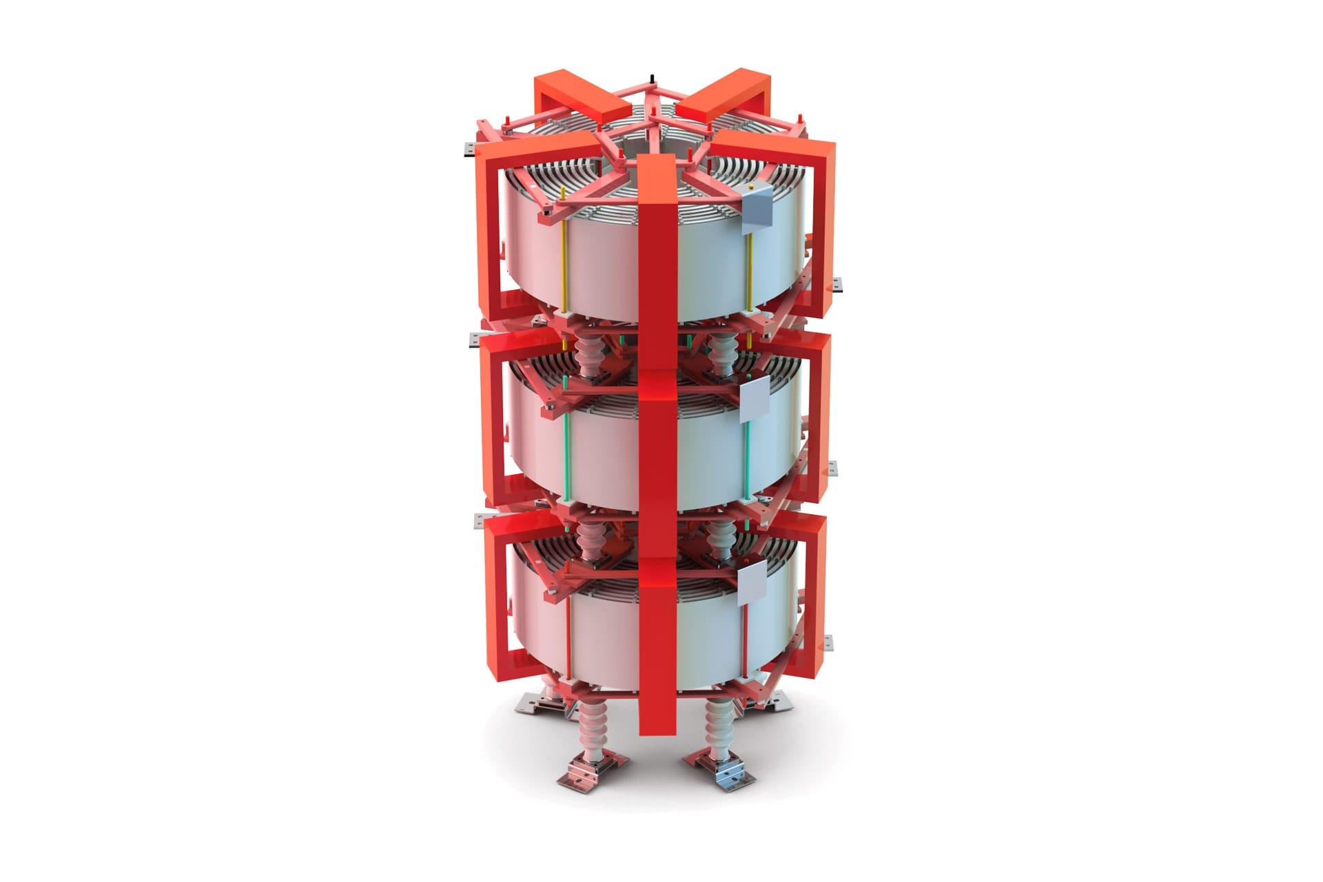 Ensons - Общий вид сухого токоограничивающего реактора броневого типа (фирменный цвет)