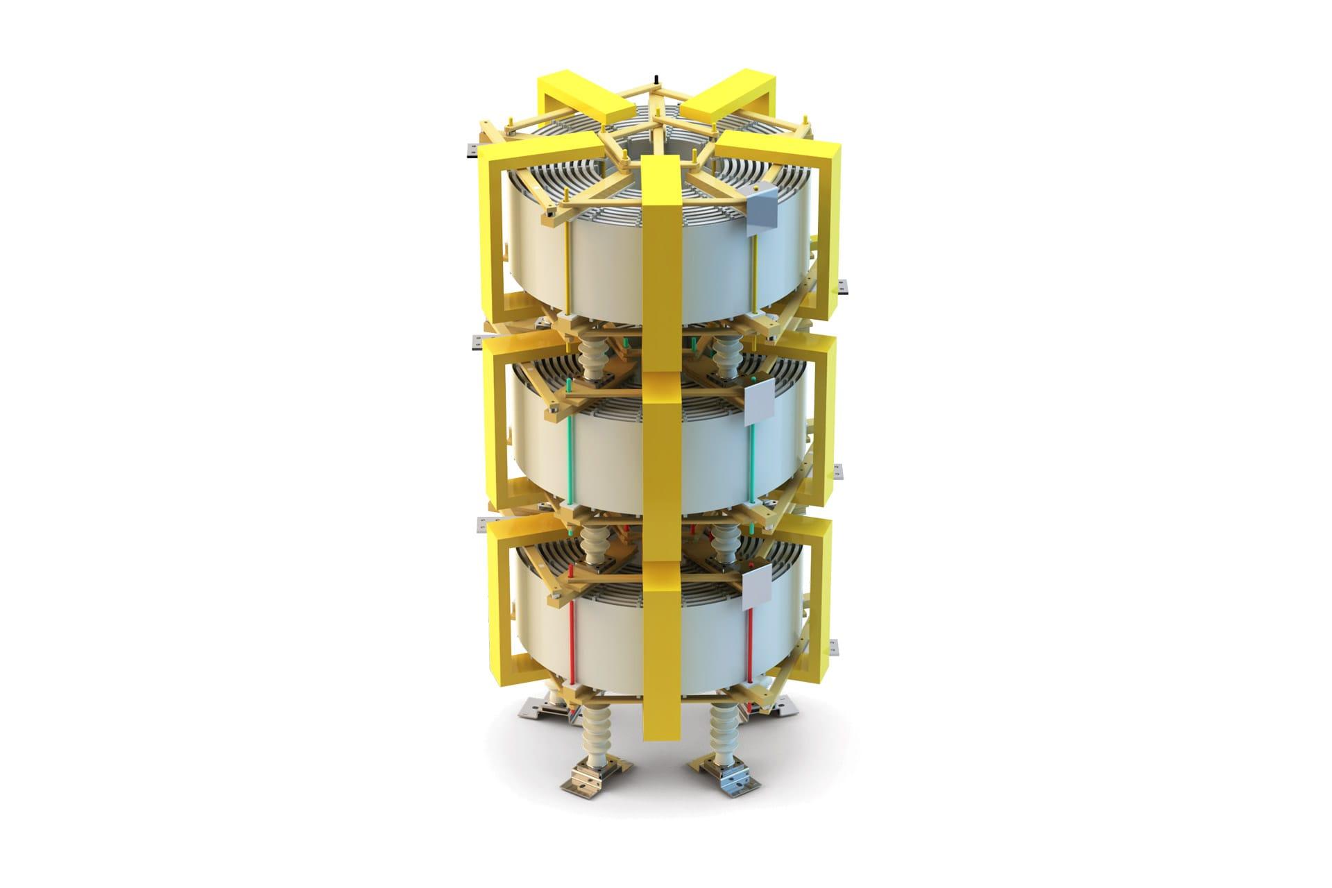 Ensons - Общий вид сухого токоограничивающего реактора броневого типа (желтый цвет)